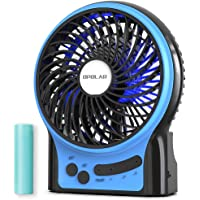 OPOLAR Rechargeable Portable Fan, 2200mAh Battery Operated or USB Powered Fan, Handheld Fan with Internal and Side LED…