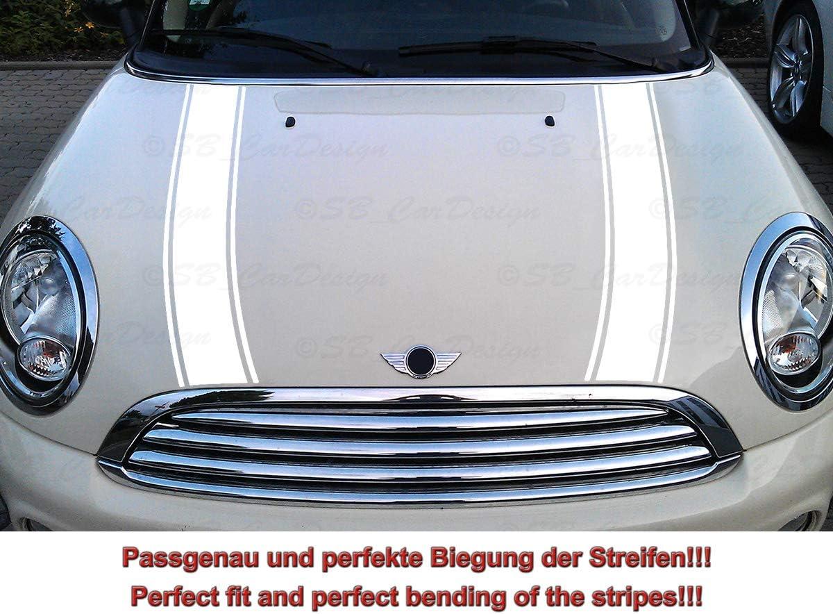 Streifen Stripes Aufkleber Motorhaube Für R55 R56 R57 R58 R59 Mini Cooper One Works Jack Weiss Design 2 Auto