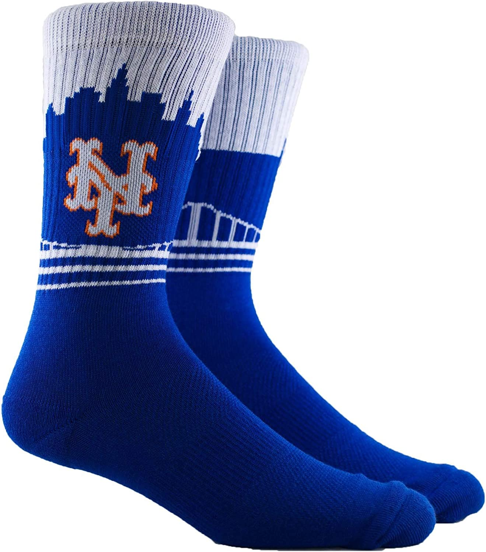 PKWY Unisex 2-Pack MLB New York Mets Mixed Crew Socks