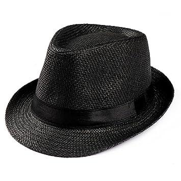 Summer Hats-Unisex Men Women Packable Fedora Trilby Straw Sun Beach Hats  Clearance (Black a655be906