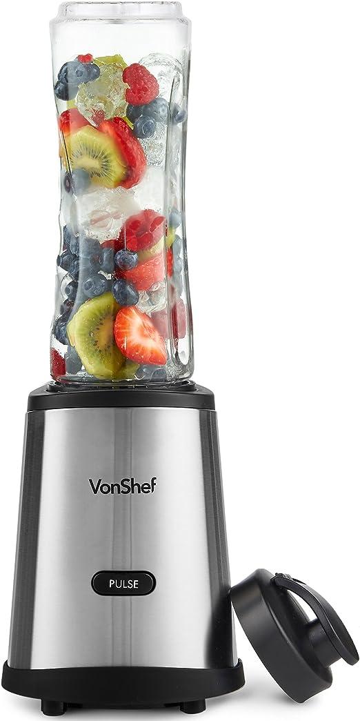VonShef Licuadora personal con botella deportiva de viaje y tapa ...