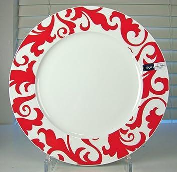Amazon.com | Ciroa FIORI Red Dinner Plate Set of 4 Red \u0026 White Paisley Fine Bone China Accent Plates  sc 1 st  Amazon.com & Amazon.com | Ciroa FIORI Red Dinner Plate Set of 4 Red \u0026 White ...
