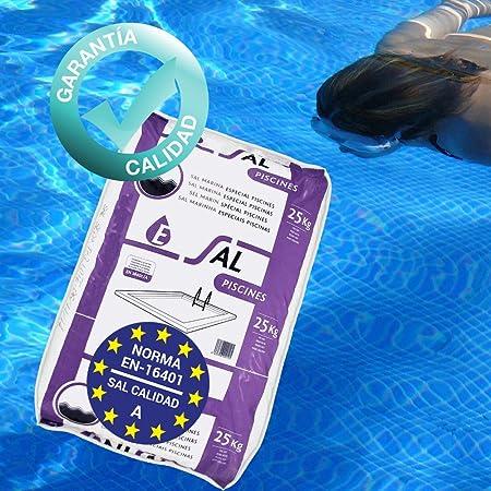 Pack de 150 Kg (6 Sacos de 25 kg.) ENISAL Sal Especial Piscinas - Cumple con la Norma Europea EN 16401/A (Sal Calidad A para Piscinas de electrólisis ...