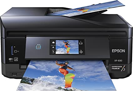 Epson XP-830 Wireless Color Photo Printer with Scanner, Copier & Fax, Amazon Dash Replenishment Enabled, C11CE78201, 1