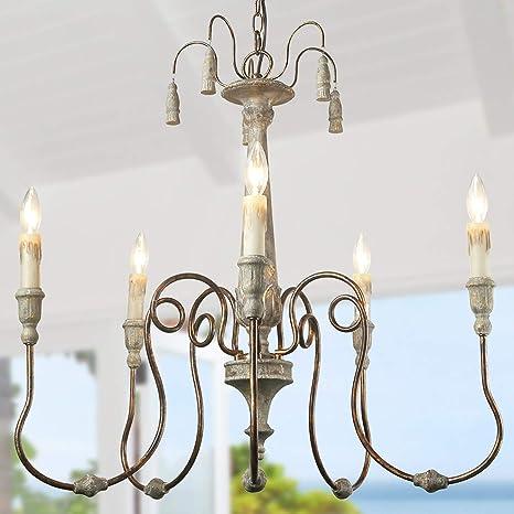 Amazon.com: Laluz 6-Light Country Chandelier Lighting ...
