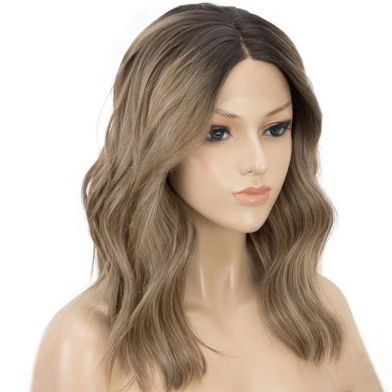 K'ryssma Short Bob Lace Front Wigs Wavy Ash Brown Ombre Synthetic Wig with Black Roots Middle Parting Half Hand Tied Heat Resistant by K'ryssma
