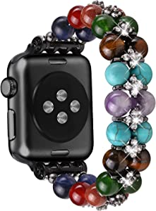 fastgo Compatible with Apple Watch Band Chakras Beaded 38mm/40mm Women Girl 7 Healing Yoga Stone Stretchy Bracelet Crystal Jewelry Wristband Relax Strap Gift 42mm/44mm for Iwatch SE Series 6/5/4/3/2/1