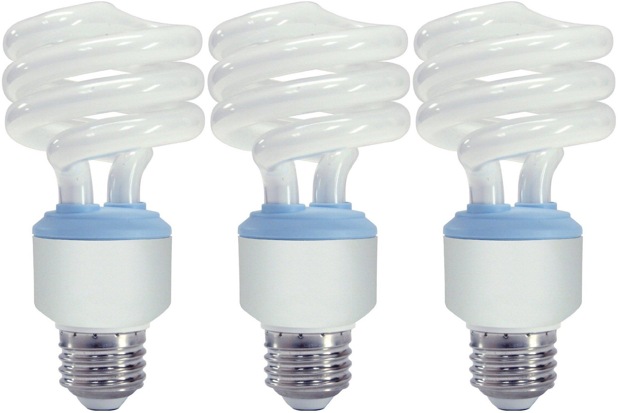 GE Lighting 75407 Reveal Spiral CFL 20-Watt (75-watt replacement) 1200-Lumen T3 Spiral Light Bulb with Medium Base, 3-Pack