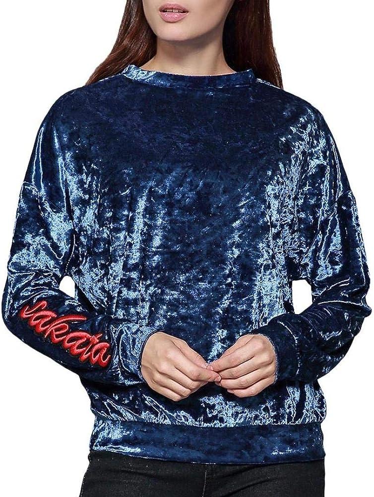 Mujer Camisas Primavera Otoño Elegante Camisa De Manga Larga Cuello Redondo Carta Bordado Terciopelo Tops Casuales Moda Clásico Sudaderas Shirts Blusas Superiores Mujeres: Amazon.es: Ropa y accesorios