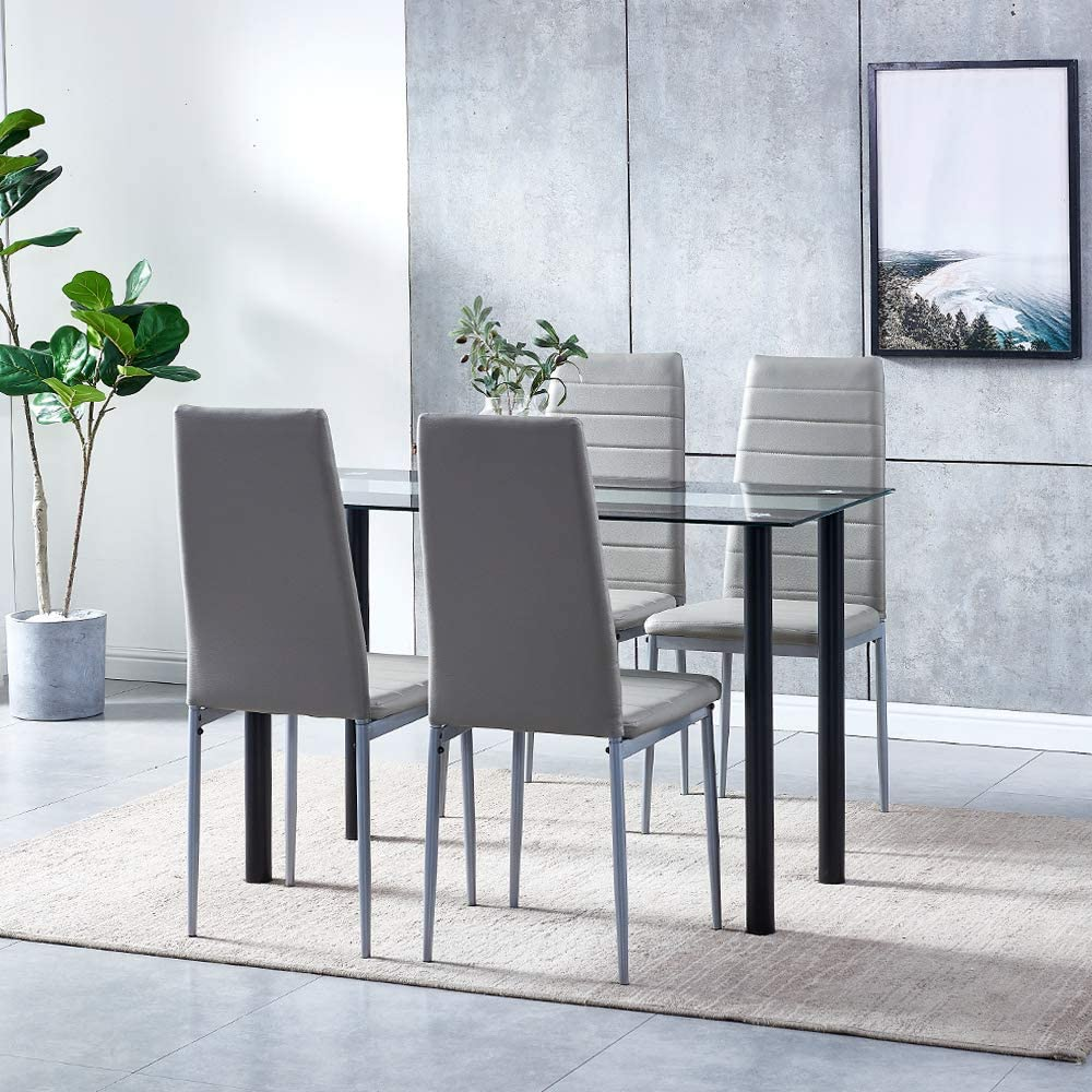 Ansley Hosho Black Glass Dining Table And Grey Chairs Set Of 2 For Small Kitchen Dinette 3 Piece Contemporary Tempered Glass Square Table And 4 Grey Faux Leather Chairs For Space Saving Home