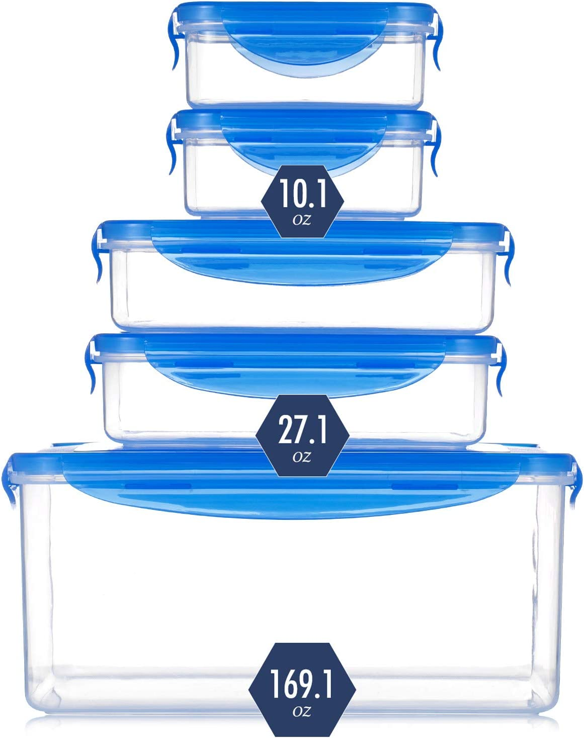 Kaldmeiya Food Storage Container with Lid, Plastic Container, Food Storage Container Set, Sealed Leak-Proof Food Container, Fruit Snack Plastic Storage Container, 5 Pieces, Clear