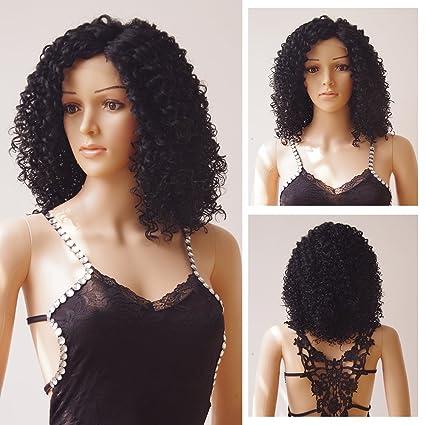Sin pegamento peluca Lace Front Profundo Invisible con Natural Fluffy Cabello Sintético Corto Bob peluca naturales
