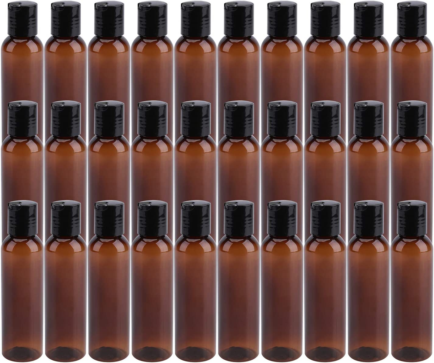 Bekith 30 Pack 4oz Plastic Squeeze Bottles with Disc Top Flip Cap, Empty Amber BPA-Free Refillable Containers For Shampoo, Lotions, Liquid Body Soap, Creams