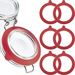 15 Pieces Silicone Jar Gaskets Replacement Silicone Seals Silicone Replacement Gasket Seals Fits Regular Mouth Canning Jars, 3.75 Inches (Red)