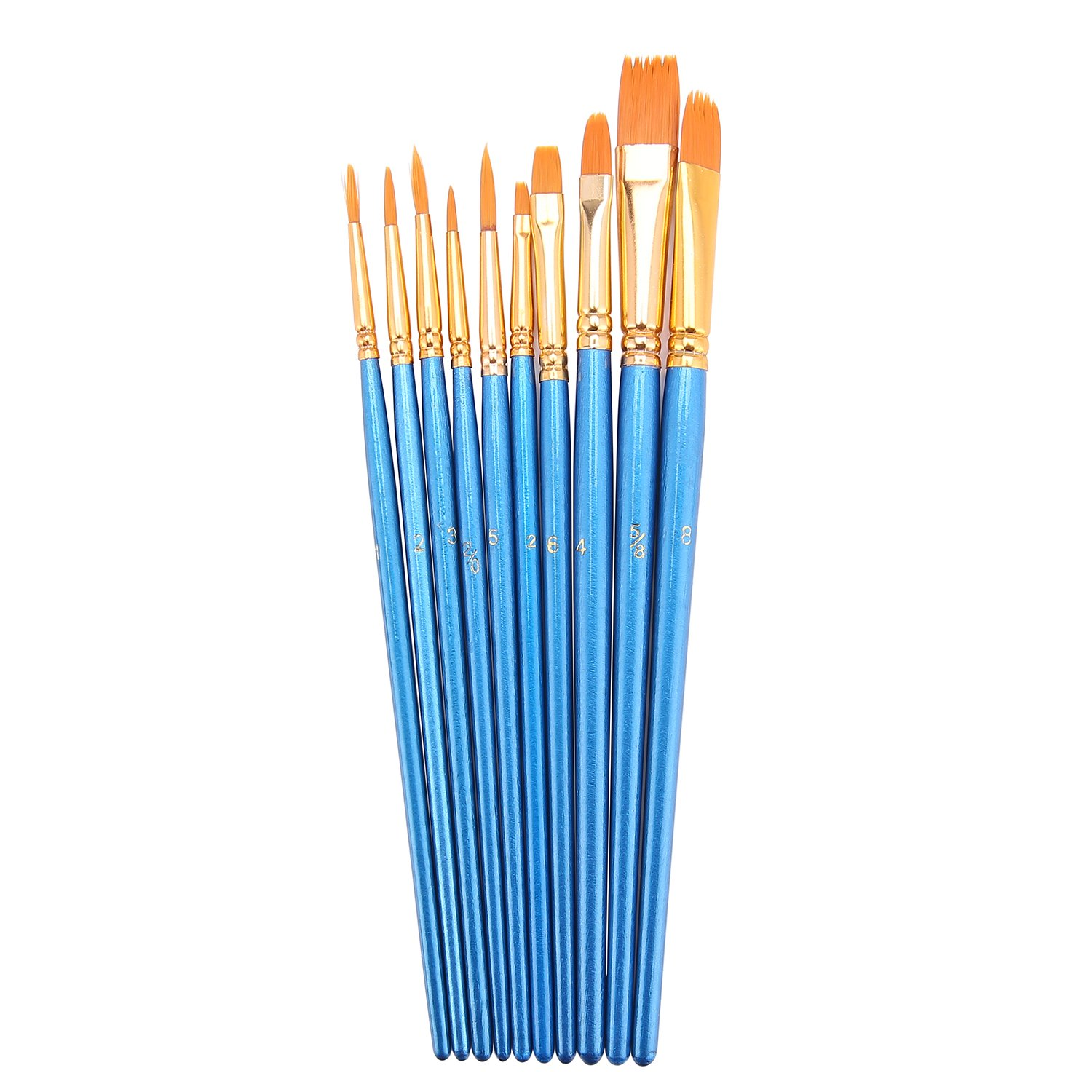 Hundor 10Pieces Paint Brushes Blue Round Pointed Tip Nylon Hair Brush Set 4336962576