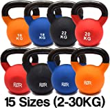 FXR Sports Cast Iron Kettlebells With Rubber Sleeve - 15 (2-30kg) - With Free A3 Workout Poster!