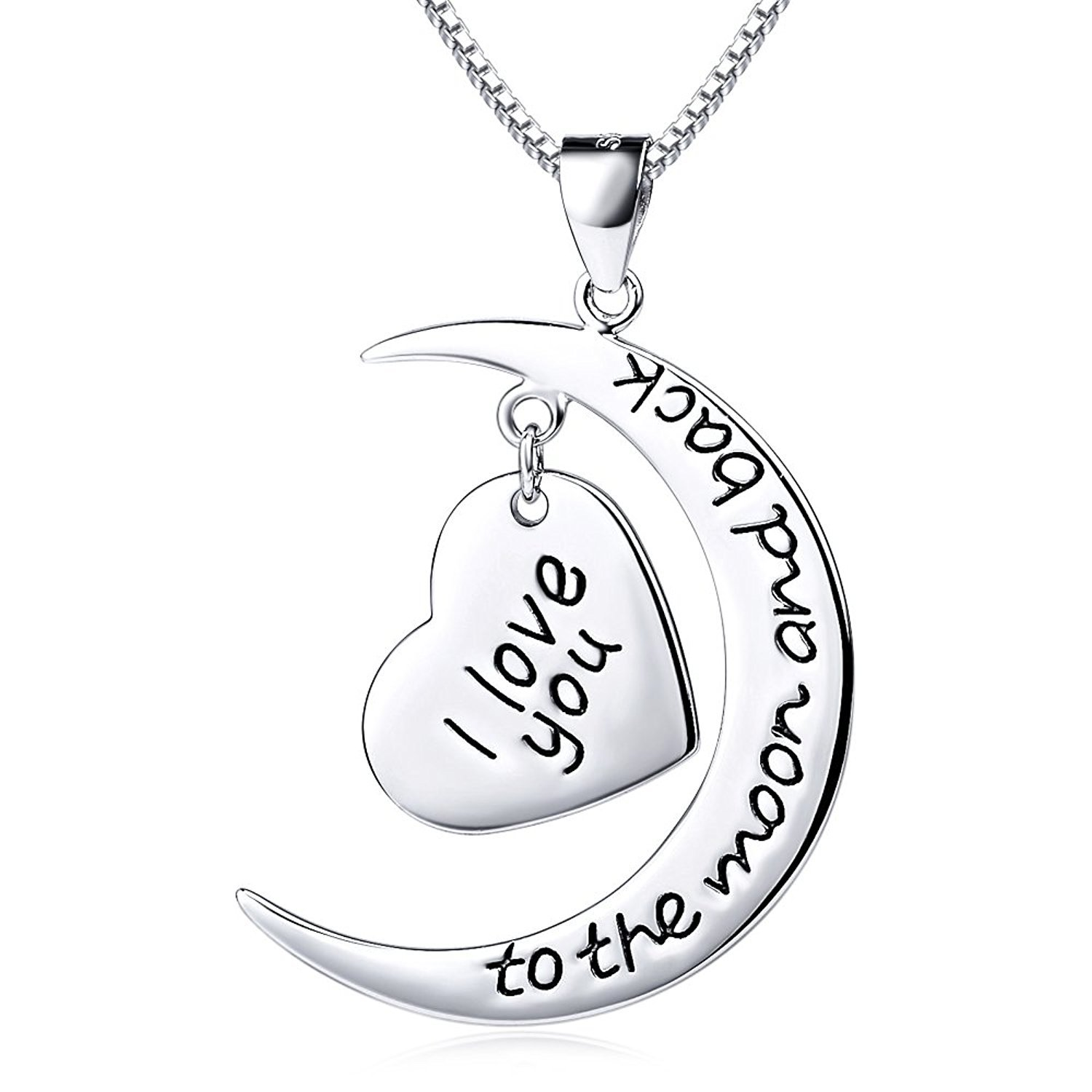 Sterling Silver Necklace ''I Love You to The Moon and Back'' Heart Charm Pendant Necklace, 18''