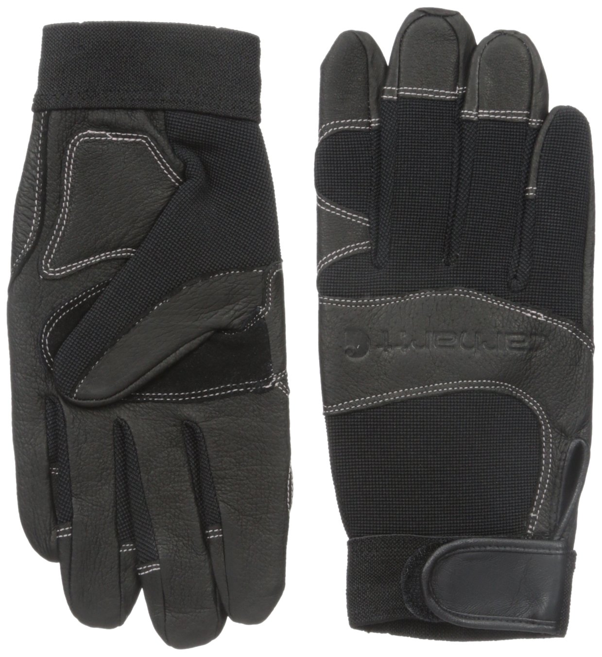 Carhartt Women's Dex II High Dexterity Work Glove with System 5 Palm and Knuckle Protection, black Winter/White Rose stitching, Small