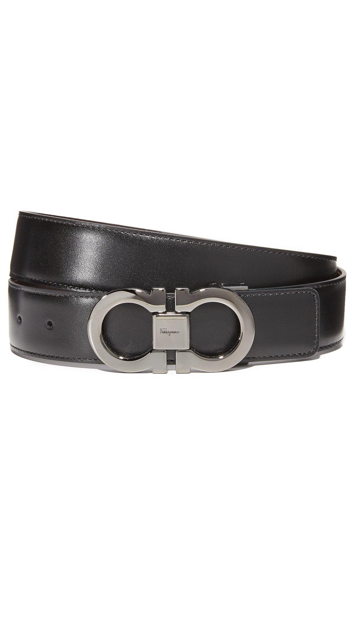 Salvatore Ferragamo Men's Double Gancini Reversible Belt, Black/Auburn, 32