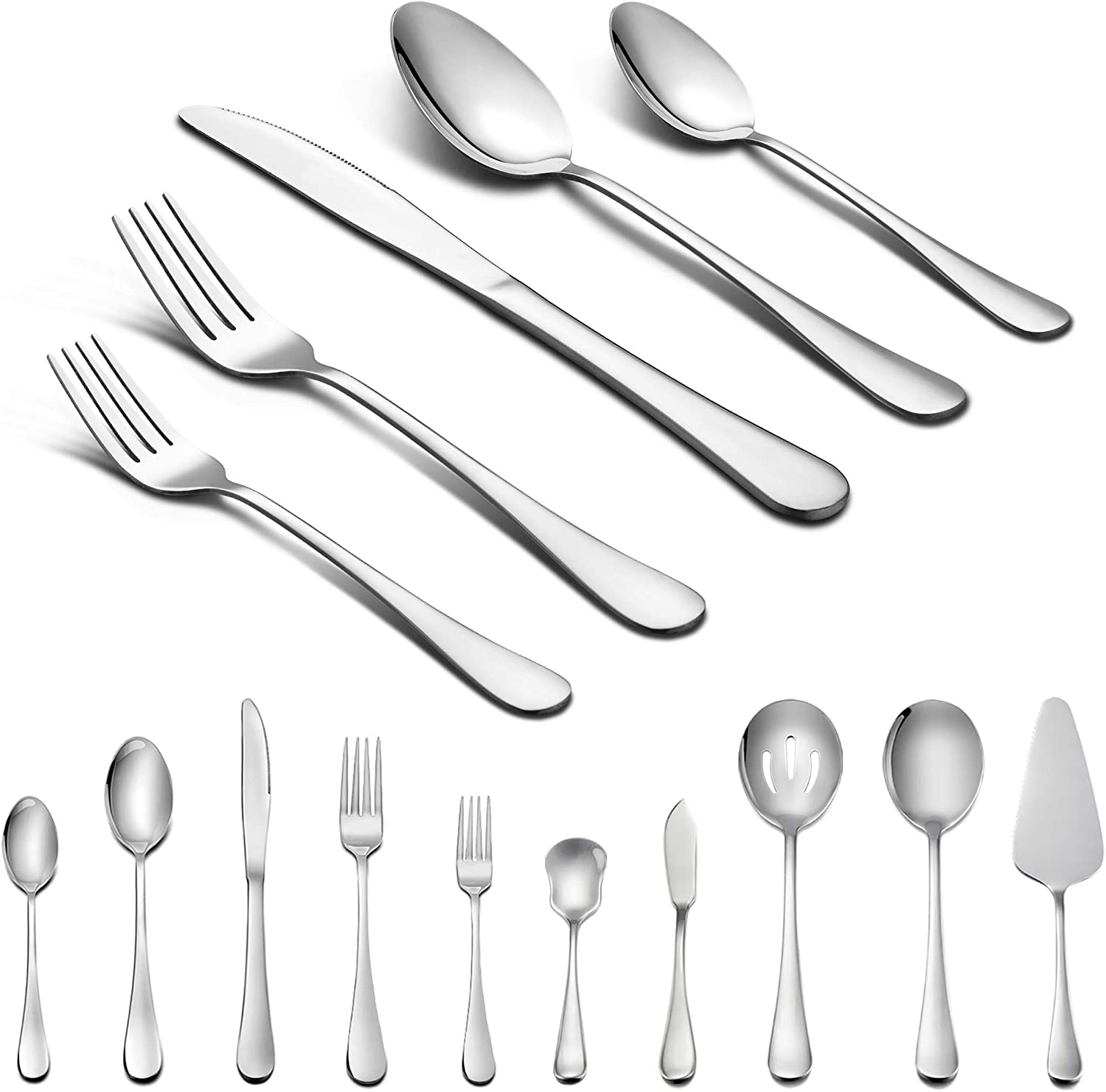 LIANYU 65-Piece Silverware Set with Serving Utensils, Stainless Steel Flatware Cutlery Set for 12, Tableware Eating Utensils, Dishwasher Safe