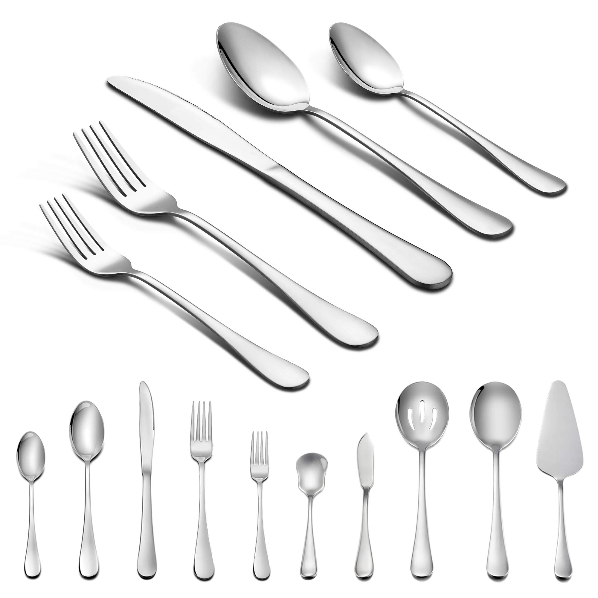 45-Piece Silverware Set with Serving Pieces, LIANYU Flatware Set Service for 8, Stainless Steel Cutlery for Kitchen Hotel Restaurant Wedding Party, Mirror Finish, Dishwasher Safe