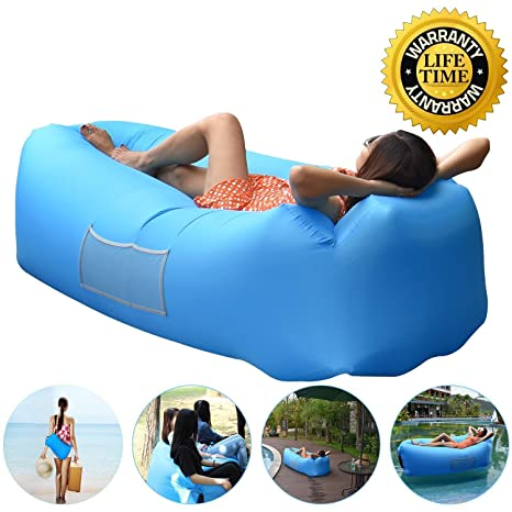 Anglink Outdoor Inflatable Lounger Couch, Air Sofa Blow Up Lounge Chair  With Carrying Bag For