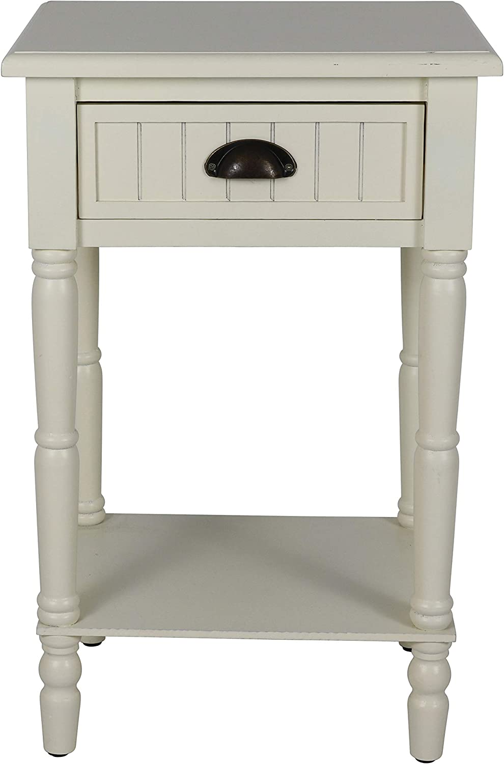 Décor Therapy Bailey Bead board 1-Drawer Accent Table, 14x17x26.5, Antique White
