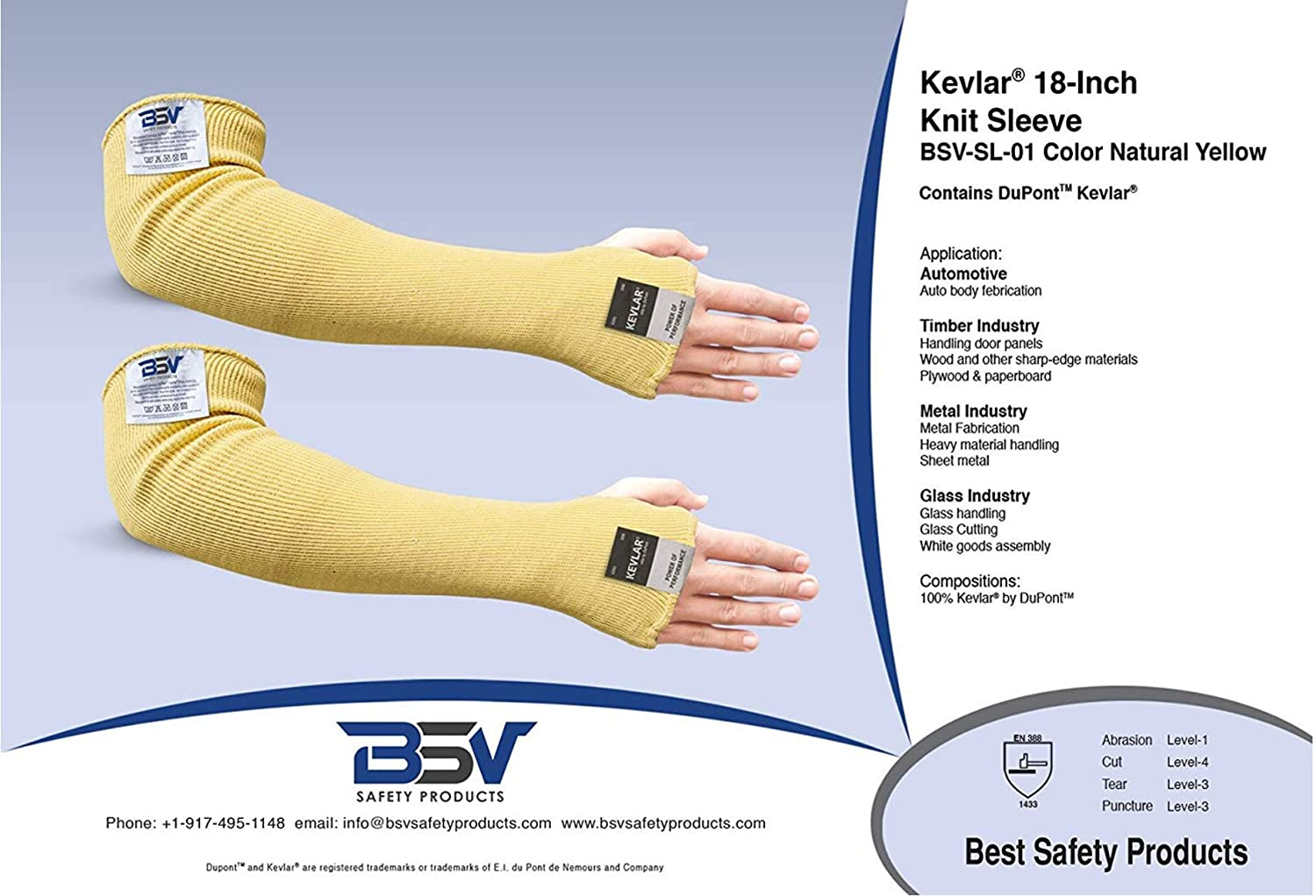 Yellow Cut Kevlar Arm Sleeves Scratch /& Heat Resistant Arm Sleeve with Thumb Holes- Arms Safety /& Long Arm Protectors- 18 inches