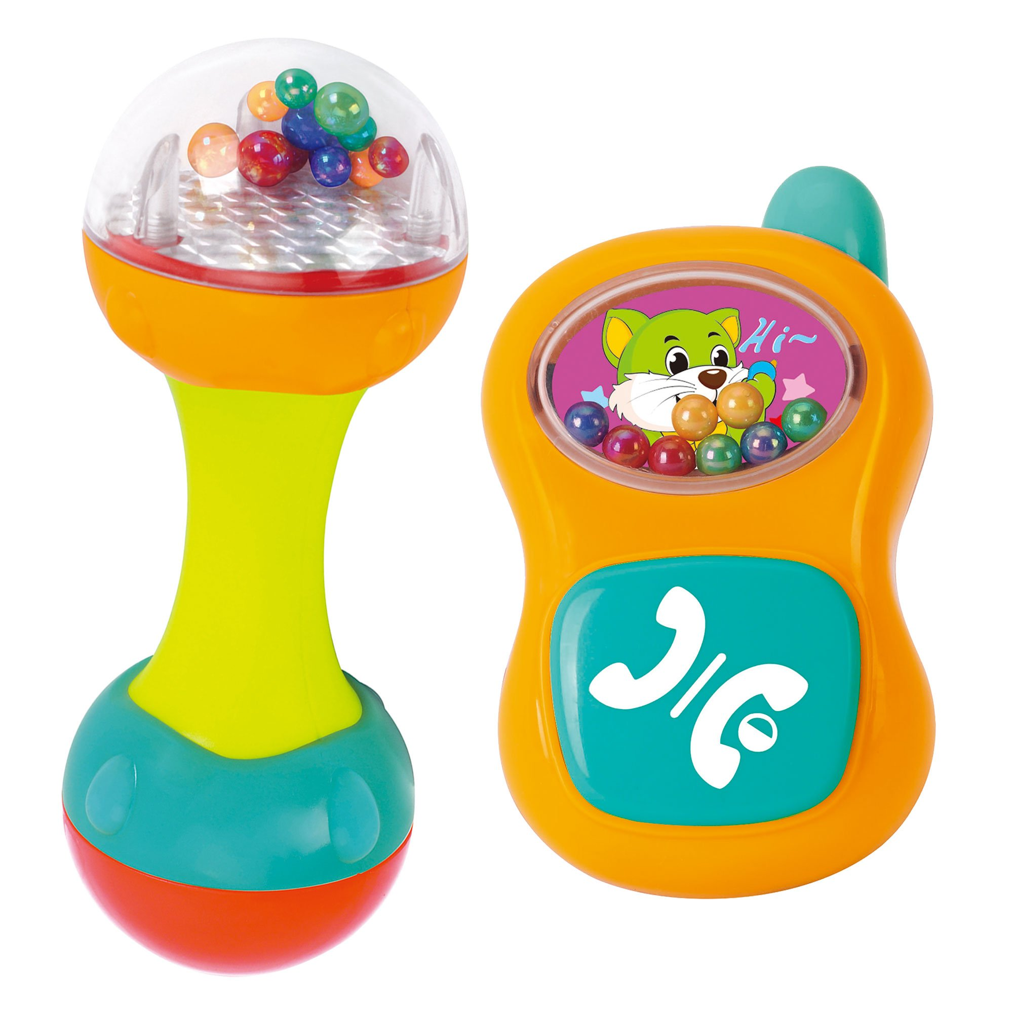 Set of Two Baby Rattles, Shaking Maraca and Baby Cell Phone for You Kids Motor Skills Development - Educational and Interactive Baby Musical Toys for Sensory Learning, Perfect for Birthday Gifts