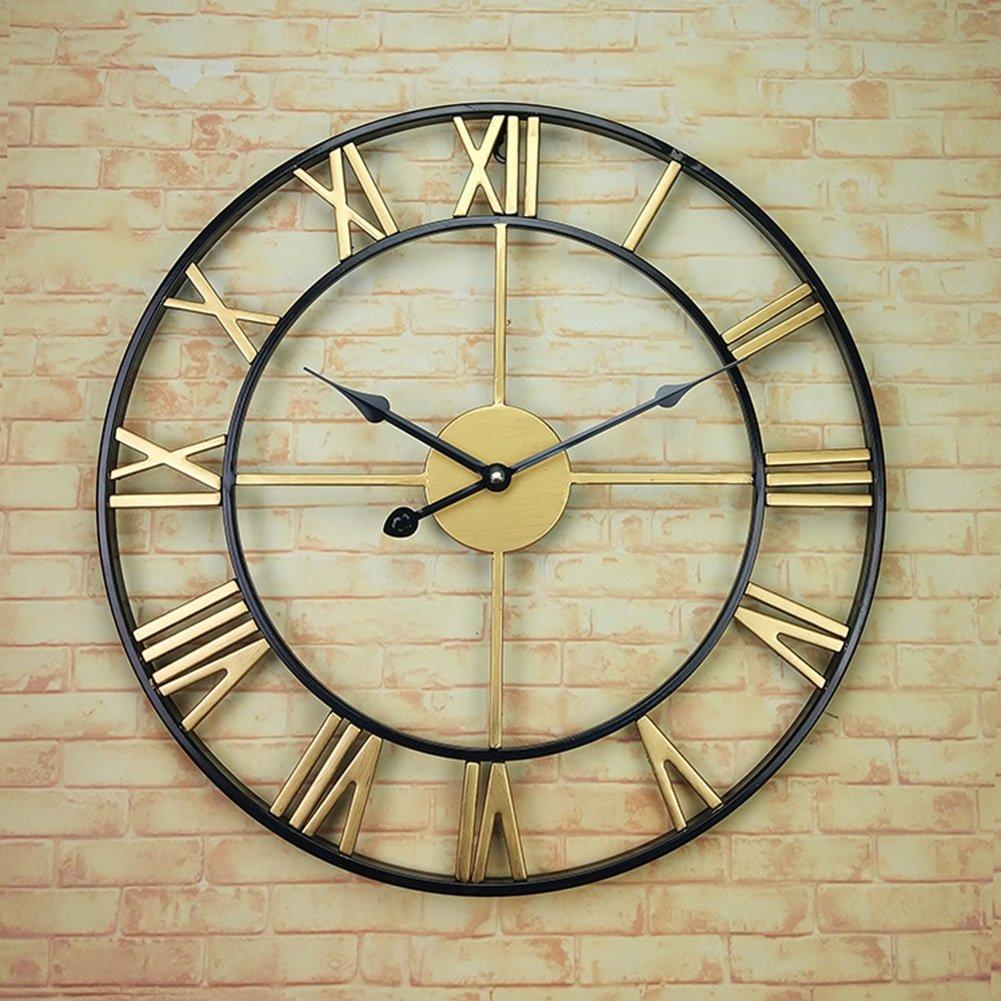 AODISHA アイアンアートウォールクロック、カフェレストラン衣料品店リビングルームウォールクロック木製壁時計の装飾ビンテージウォールクロック直径40-45CM より多くの装飾を取る (色 : C, サイズ さいず : 40*40cm) B07FGVBJ54 40*40cm C C 40*40cm