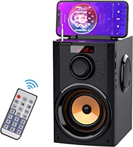 Eifer Portable Bluetooth Speaker with Subwoofer Rich Bass Wireless Stereo Outdoor/Indoor Party Speakers Support Remote Control FM Radio TF Card LCD Display for Home Party Smartphone Computer PC