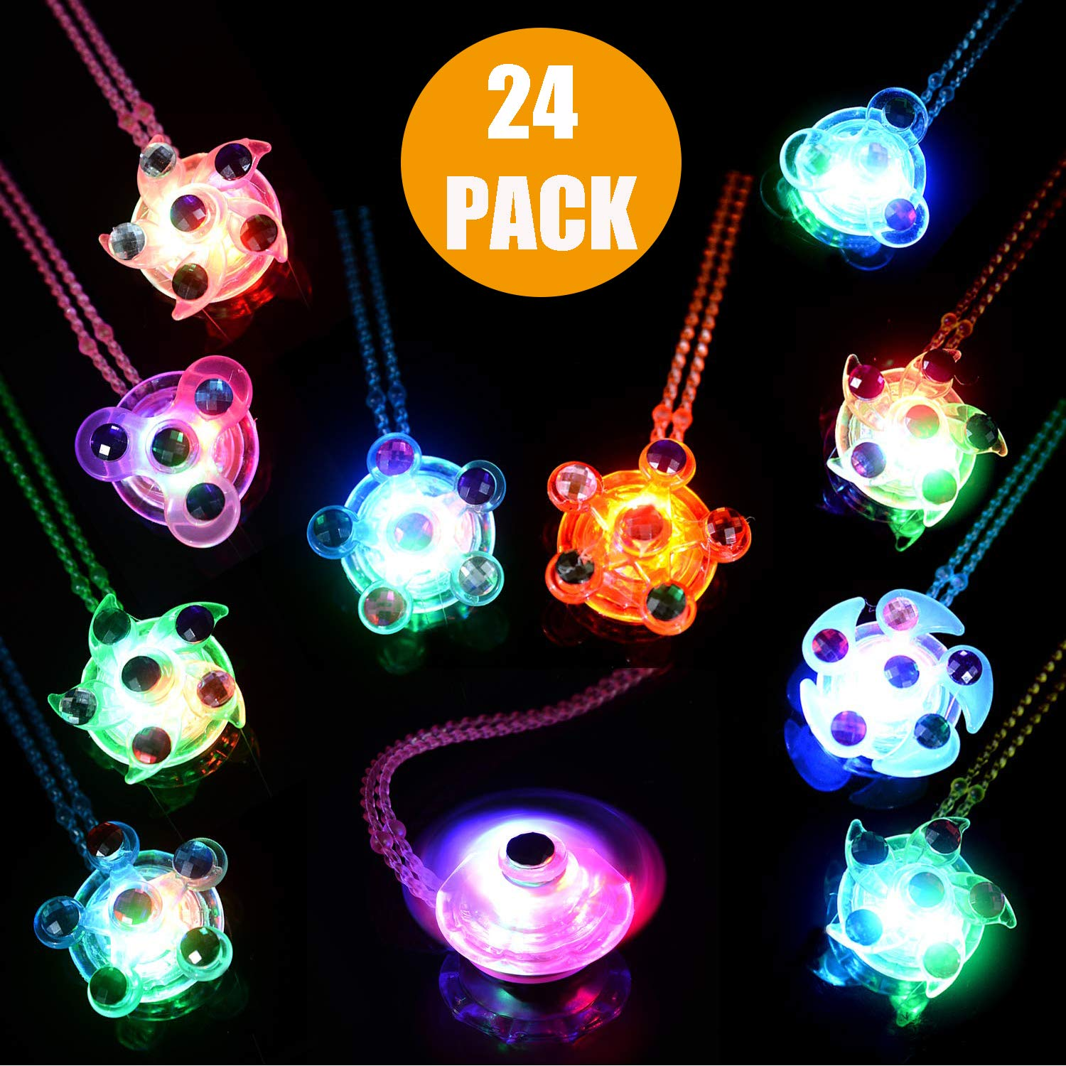 Mikulala LED Party Favors for Kids Prizes 24 Pack Glow in The Dark Party Supplies Light Up Necklaces Bulk Hand Spin Stress Relief Anxiety Toys for Girls Boys Christmas Birthday New Year Eve (24 Pack) by Mikulala