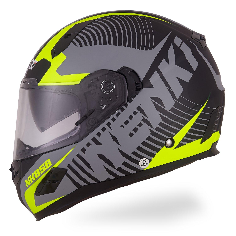 Casque de moto inté gral en fibre de verre avec double visiè re - Homologation ECE - NK-856 - Nenki L Flag Racing