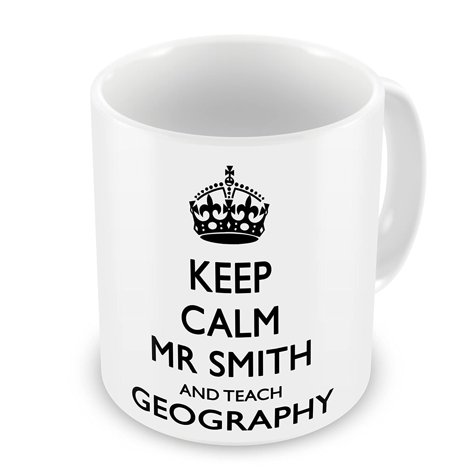 232b2174f07 Keep Calm And Teach Geography Personalised Gift Mug  Amazon.co.uk  Garden    Outdoors