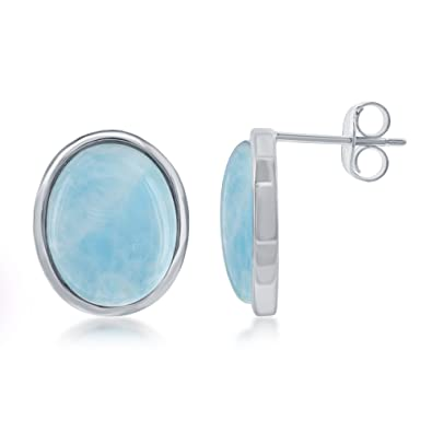 c5dc1aec9 Image Unavailable. Image not available for. Color: Sterling Silver Natural  Larimar Stone Oval High Polish Stud Earrings