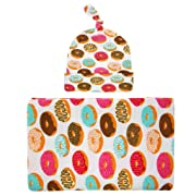 Fighting to Achieve Unisex Baby Swaddle Blanket With Donut Pattern Tire Cap Headband Knot Headwrap Suit