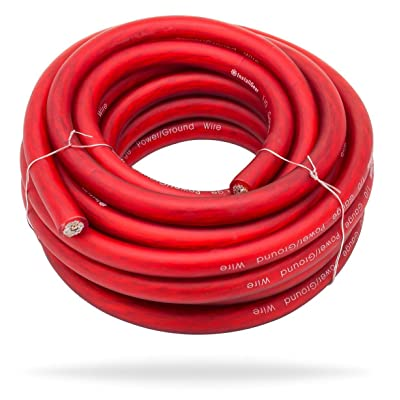 InstallGear 1/0 Gauge Red 25ft Power/Ground Wire - OFC (99.9% Oxygen-Free Copper): Home Audio & Theater