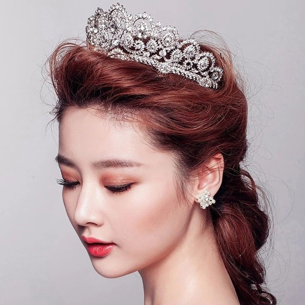 Shuohu Handmade Hot Bride Headdress Diamond, Women Bridal Wedding Crown Tiara Rhinestones Headdress Hair Jewelry Accessories