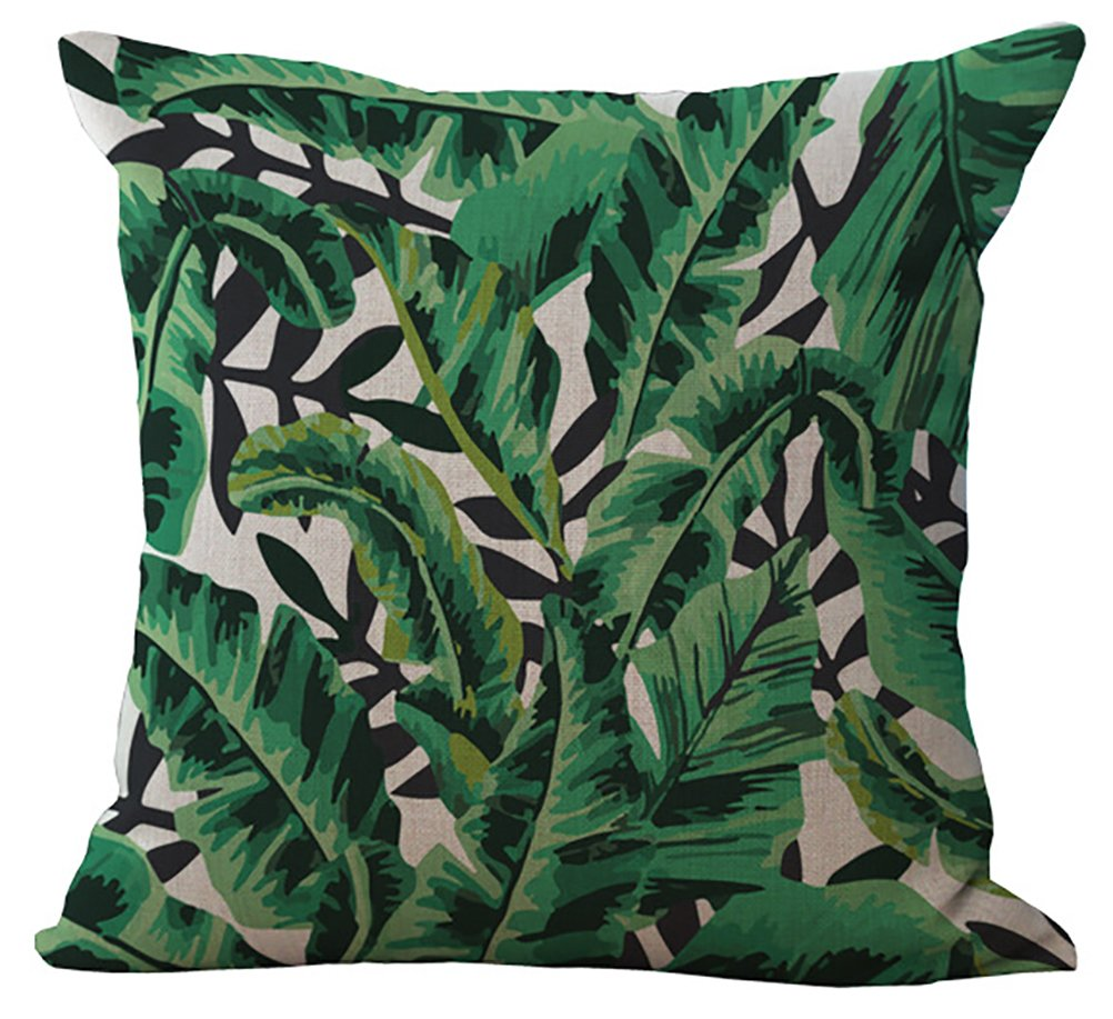 Flowers Leaves Stuffed Cushion ChezMax Cotton Linen Throw Pillow Insert Square For Lounge Diwan Divan Pub Bench CM-MY-P1012-002-1