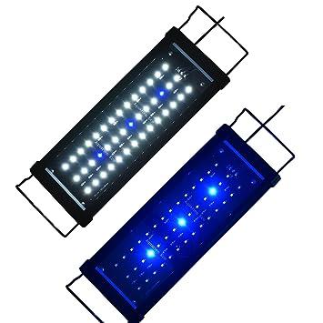 Aquarien ECO Lámpara de Acuario Luz de Acuario Azul Blanco LED 2835 SMD 2 Modos Extensibles con Iluminación de Enchufe para Acuario de Peces(30cm)