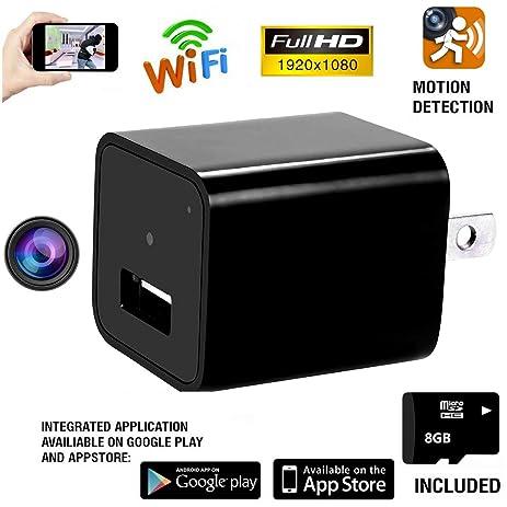 amazon com wifi hidden spy camera 1080p hd mini usb wall charger