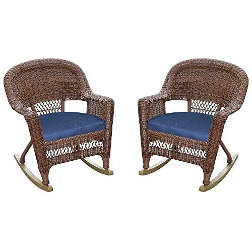 Jeco Rocker Wicker Chair with Blue Cushion, Set of 2, Honey