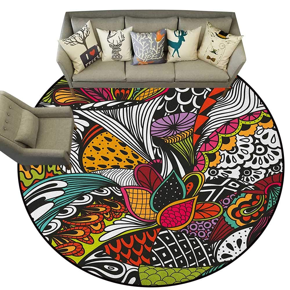 Style05 Diameter 36(inch& xFF09; Garden Art,Personalized Floor mats Whimsical Florist Pattern with Doodle Funny Plants Artistic Rich Summer Nature D54 Floor Mat Entrance Doormat