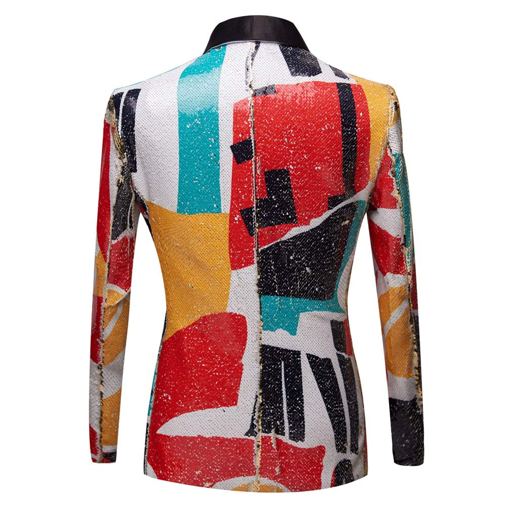 PYJTRL Men Fashion Pattern Shawl Lapel Sequins Blazer