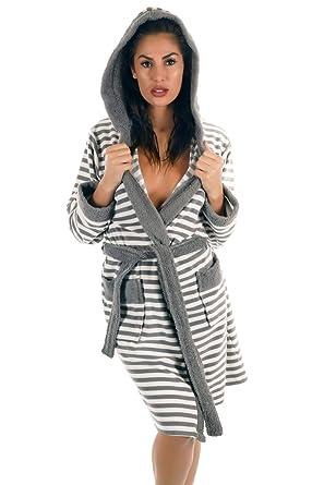 akribische Färbeprozesse größte Auswahl offiziell WEWO-Fashion Damen Bademantel Morgenmantel Saunamantel Badejacke mit  Kapuze, 500-6016