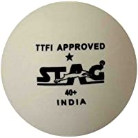 Stag One Star Plastic Table Tennis Ball, 40mm Pack of 30 (White)