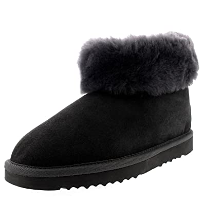 56b8179cac42f Womens Real Suede Thick Cuff Rubber Sole Slippers Boots - Grey - UK3/EU36 -
