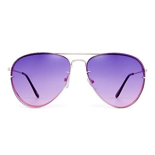 87a6dd5c727e Classic Aviator Sunglasses Gradient Tinted Oceanic Lens Metal Shades Men  Women (Gold/Purple)
