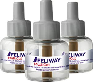 Feliway MultiCat Calming Diffuser Refill (3 pack, 48 ml), Vet Recommended, Reduce Fighting and Conflict Among Cats