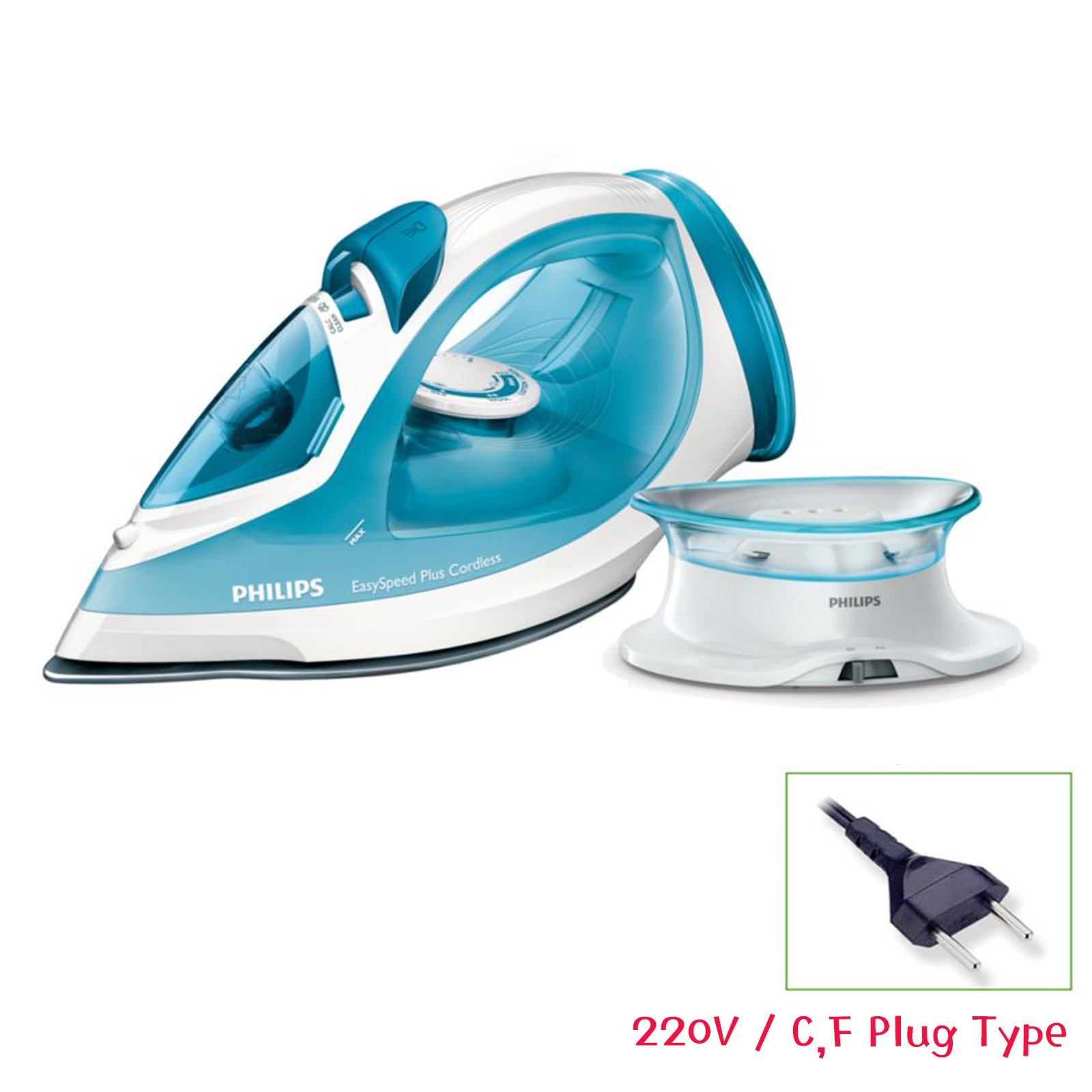 Philips GC2080/28 Easyspeed Plus Cordless Steam Iron 1800W 220V Compact Charging